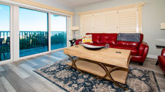 Comfortable living room in a 3 bedroom 2 bath Clearwater Beach vaction rental with Surfise 201
