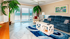 Beautiful living room in Surfside 403 which is a 2 BR 2 BA oceanfront weekly vacation rental right on the beach