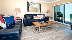 Tile floor and living room furntiture in Surfside 502 a 2 bedroom 2 bath rental condo on Clearwater Beach