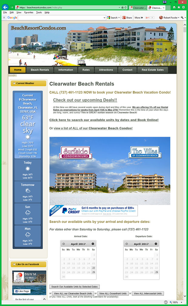 Clearwater Beach Spring Break Rentals