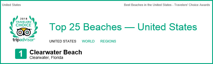 Clearwater Beach is the 2018 Travelers' Choice Awards Number 1 Beach in the United States by tripadvisor, also Number 7 in the World!