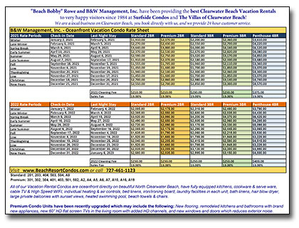 Print out our 2018-2019 Oceanfront Vacation Rental Rate Sheet